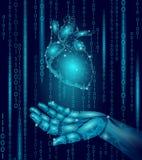 Mão humana do androide do robô do coração baixo poli Projeto geométrico poligonal da partícula Futuro da tecnologia da medicina d ilustração royalty free