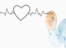 A mão humana escreve o coração Imagens de Stock Royalty Free