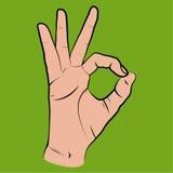 Mão humana, mostrando ESTÁ BEM a vista, dedos que mostram o símbolo de um grande ilustração royalty free