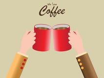 Mão humana que guarda o copo de café vermelho Ilustração do Vetor