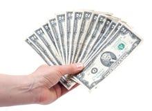 Mão humana que guarda o dinheiro Imagem de Stock Royalty Free
