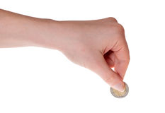 Mão humana que mantem a euro- moeda isolada no branco imagens de stock royalty free