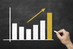 Mão humana que tira um gráfico da carta de negócio com uma seta imagem de stock