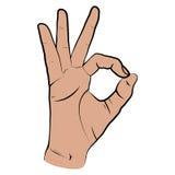 Mão humana, vista da APROVAÇÃO, dedos que mostram o símbolo de um grande estado Imagens de Stock