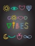 Mão inspirador do cartaz das citações inspiradas tirada rotulando as linhas coloridas boas vibrações com símbolos positivos Imagens de Stock