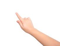 Mão isolada da criança que toca ou que aponta a algo Imagens de Stock Royalty Free
