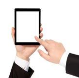 Mão isolada do homem de negócios que guardara a tabuleta com tela isolada Imagens de Stock