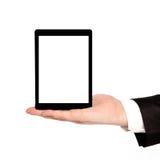 Mão isolada do homem de negócios que guardara uma tabuleta com tela isolada Fotos de Stock