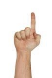 Mão isolada que aponta acima Imagens de Stock