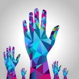 Mão levantada polígono Foto de Stock Royalty Free