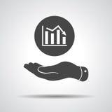 Mão lisa que mostra o ícone do gráfico que vai para baixo Fotografia de Stock Royalty Free