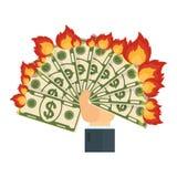 A mão mantém-se queimar o dinheiro ilustração royalty free