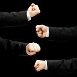 Mão masculina caucasiano em um terno de negócio isolado Imagens de Stock Royalty Free