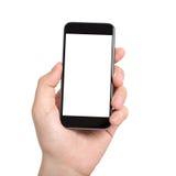 Mão masculina isolada que guarda um telefone com tela branca foto de stock