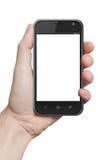 Mão masculina isolada que guarda o gadge do computador do toque da tabuleta do telefone fotografia de stock royalty free