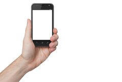 Mão masculina isolada que mantém o telefone isolado foto de stock