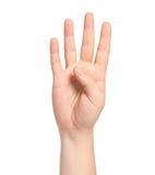 Mão masculina isolada que mostra o número quatro fotografia de stock