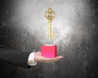 Mão masculina que guarda o bloco vermelho com libra esterlina dourado Foto de Stock