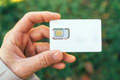Mão masculina que guarda o cartão do telefone celular SIM Fotos de Stock
