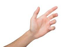 Mão masculina que guarda o cartão, o telefone ou o outro isolados no branco Fotografia de Stock Royalty Free
