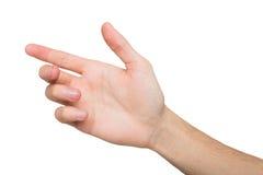 Mão masculina que guarda o cartão, o telefone ou o outro isolados no branco Foto de Stock