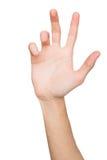 Mão masculina que guarda o cartão, o telefone ou o outro isolados no branco Imagem de Stock Royalty Free