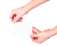 Mão masculina que guarda um cartão de papel Foto de Stock Royalty Free