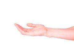 Mão masculina vazia. Pedir a ajuda ou a sugestão do conceito da ajuda. imagem de stock