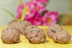 Mão - Meatballs feitos Fotografia de Stock