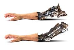 Mão metálica do robô Foto de Stock
