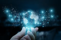 A mão mostra a rede do negócio à disposição Imagem de Stock