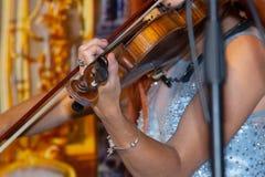 Mão nas cordas de um violino imagem de stock royalty free