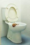 Mão no toalete imagem de stock royalty free