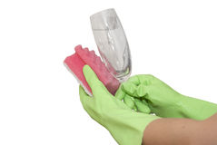 Mão no vidro limpo da luva Foto de Stock