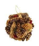 Mão - ornamento feito do Natal do cone do pinho Imagens de Stock Royalty Free