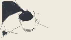 Mão para o café do mocha no copo Efeito do desenho de lápis ilustração royalty free