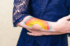 Mão pintada colorida imagens de stock royalty free