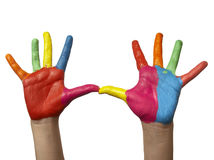 Mão pintada cor da criança fotografia de stock