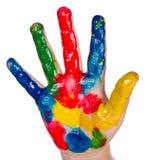 Mão pintada da criança Fotos de Stock Royalty Free