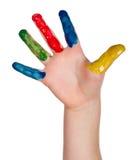 Mão pintada da criança Foto de Stock