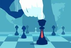 Mão poderosa da colheita que joga a xadrez do mundo ilustração stock