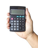 Mão, prendendo a calculadora imagens de stock
