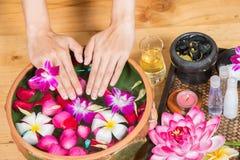 A mão preparada fêmea asiática limpa perfeita dos pés, a bonita e a elegante da menina do ` s toca em seus pés, termas, esfrega-o fotos de stock royalty free