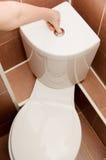 A mão pressiona a tecla da bacia de toalete Imagens de Stock Royalty Free