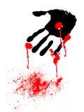Mão preta com gotas do sangue Fotos de Stock