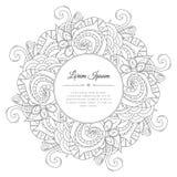 Mão preto e branco quadro floral tirado da garatuja Imagem de Stock