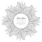 Mão preto e branco quadro floral tirado da garatuja Fotografia de Stock Royalty Free