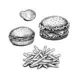 A mão preto e branco tirada fritou batatas, microplaquetas e sanduíches ilustração stock
