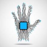 Mão Processador central Placa de circuito Fotografia de Stock Royalty Free