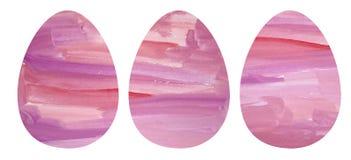Mão que afoga um grupo da aquarela de três ovos da páscoa ilustração do vetor